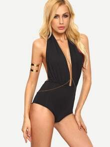 Plunge Neck Backless Bodysuit - Black