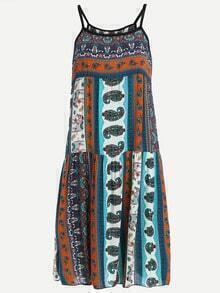 Contrast Trim Multicolor Paisley Print Cami Dress