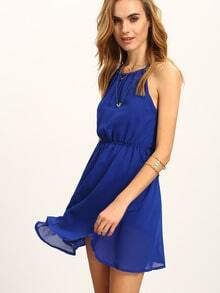 Halter Neck Keyhole Back Skater Dress - Blue