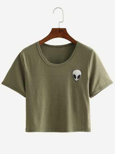 Alien Print Crop T-shirt - Olive Green