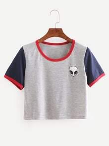 Color Block Alien Print Crop T-shirt