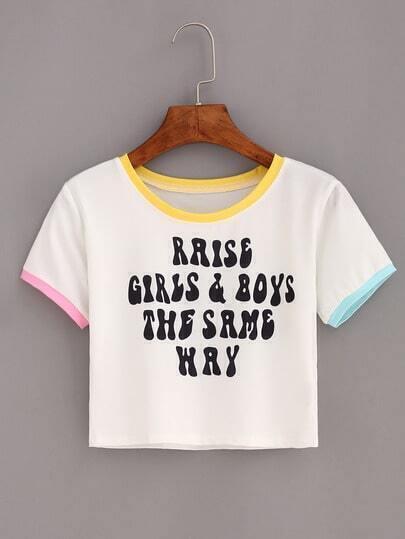 Contrast Trim Letter Print Crop T-shirt - White