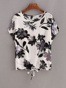 Contrast Flower Print Drawstring Hem T-shirt