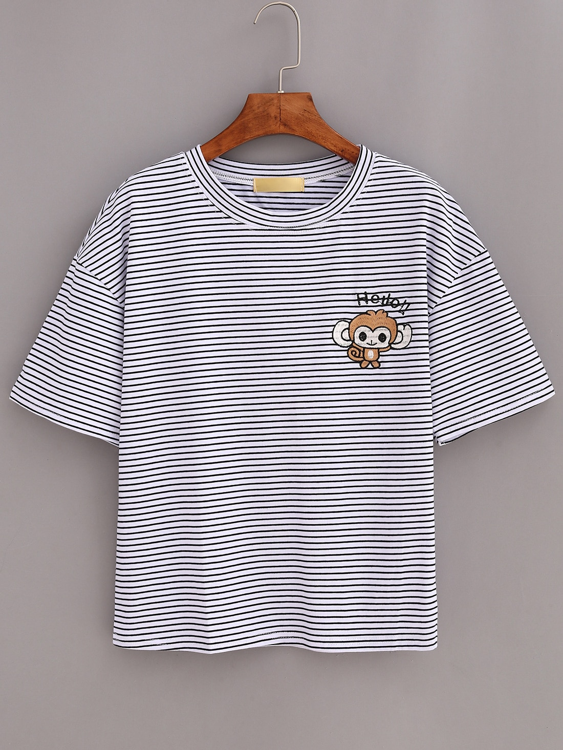 Monkey Embroidered Drop Shoulder Striped T-shirt - WhiteMonkey Embroidered Drop Shoulder Striped T-shirt - White<br><br>color: Black and White<br>size: one-size