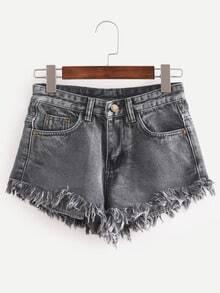 Raw Hem Black Denim Shorts