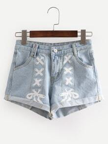 Printed Rolled Hem Light Blue Denim Shorts