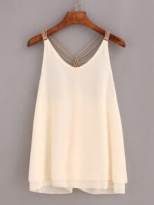 Beaded Racerback Chiffon Top - Apricot