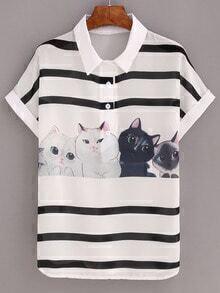 Striped Cat Print Chiffon Blouse - White