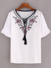 Embroidered Tassel Tie-Neck Ruffled Sleeve Top - White