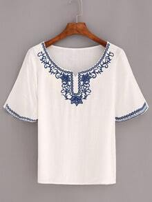 Flower Embroidered Short Sleeve Top - White