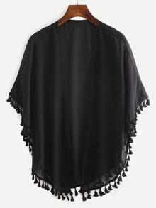 Tassel Trimmed Plain Chiffon Kimono