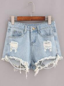 Ripped Raw Hem Light Blue Denim Shorts