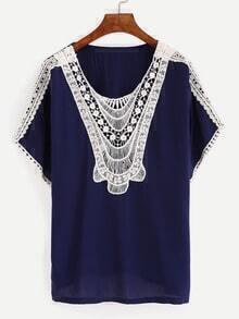 Navy Contrast Crochet Hollow Out Shirt