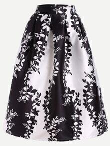 Flower Print Flare Skirt With Zipper