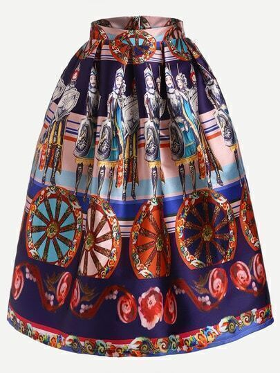 Soldier Print Flare Skirt