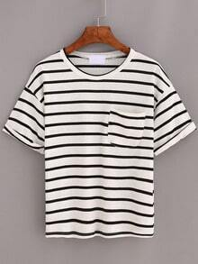 Black Striped Pocket Cuffed T-Shirt