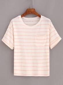 Pink Striped Pocket Cuffed T-Shirt