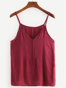 Burgandy Spaghetti Strap Single Breasted Cami Top