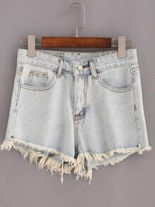 Light Blue Fringe Denim Shorts