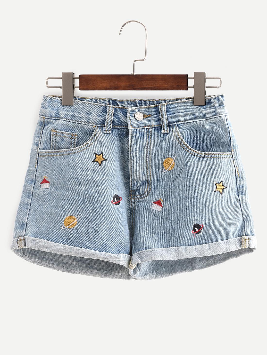 Embroidered Cuffed Denim Shorts