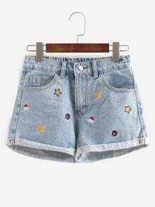 Embroidered Cuffed Denim Shorts -SheIn(Sheinside)