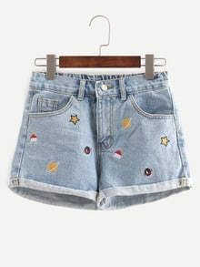 Shorts bordado denim -azul