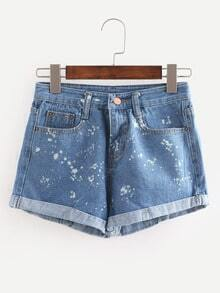 Speckled Print Cuffed Denim Shorts