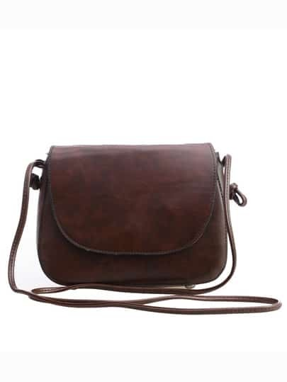 Faux Leather Magnetic Closure Saddle Bag - Dark Brown
