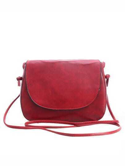 Faux Leather Magnetic Closure Saddle Bag - Burgundy