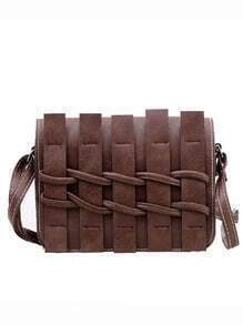 Faux Leather Braided Flap Bag - Dark Brown