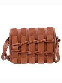 Faux Leather Braided Flap Bag - Brown