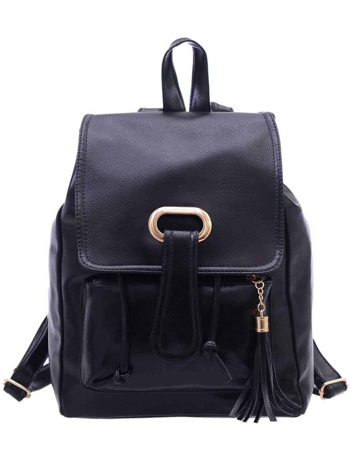 Фото Faux Leather Tassel Embellished Flap Backpack - Black. Купить с доставкой
