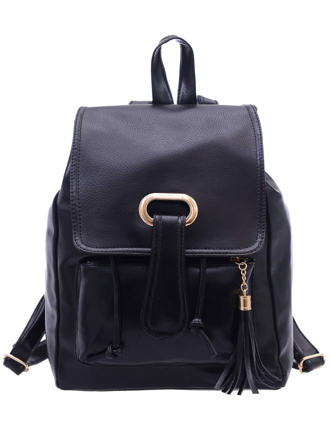 Faux Leather Tassel Embellished Flap Backpack – Black