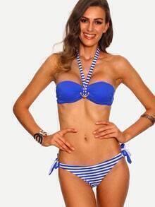Royal Blue Striped Mix & Match Bikini Set
