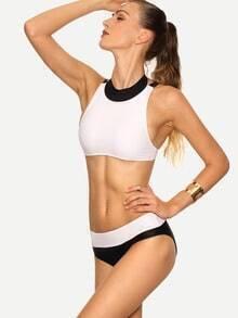 Contrast High Neck Strappy Bikini Set