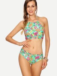 High Neck Flower Print Bikini Set - Green