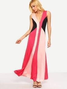 Double V-Neck Color Block Long Dress - Pink