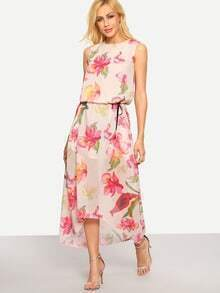 Sleeveless High-Low Flower Print Chiffon Dress - Pink