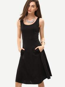 Fit & Flare Tank Dress With Side Pockets - Black