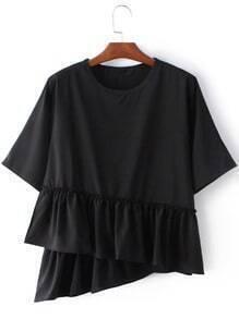 Black Round Neck Ruffle Hem Short Sleeve Blouse
