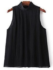 Black Sleeveless Keyhole Back High Neck Pleated Blouse