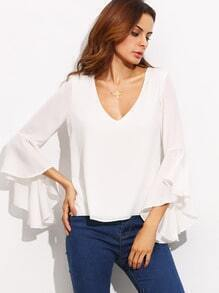 White Bell Sleeve Cut Out Back Chiffon Blouse