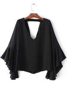 Black Bell Sleeve Cut Out Back Chiffon Blouse