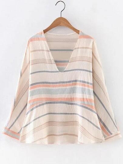 Multicolor Long Sleeve V Neck Stripe Blouse