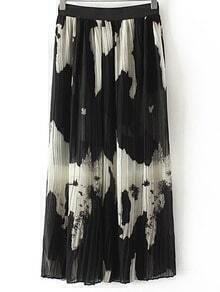 Multicolor Ink Print Elastic Waist Pleated Long Skirt