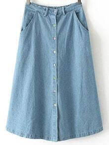 Blue Elastic Waist Buttons Front Denim Skirt