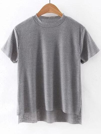 Grey Dipped Hem Short Sleeve Rib T-shirt