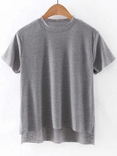 Grey Dipped Hem Short Sleeve Rib T-shirt