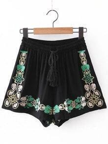 Black Pockets Elastic Tie-Waist Tassel Embroidery Shorts