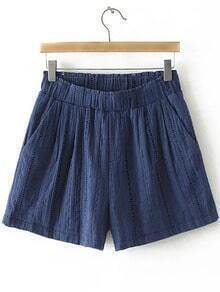 Navy Pockets Elastic Waist Hollow Embroidery Shorts